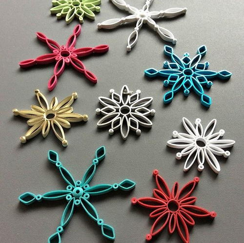 Modern Quilled Snowflake Ornaments