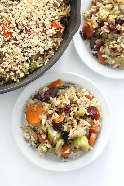 Gluten-Free Brown Rice Stuffing Casserole (Vegan, Allergy-Free)