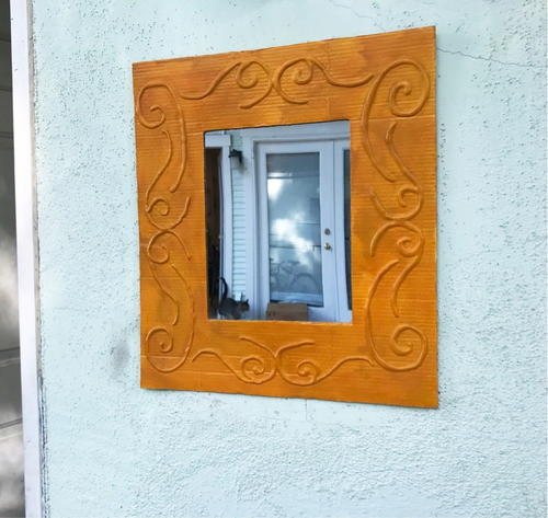 Framed Mirror Using Recycled Cardboard