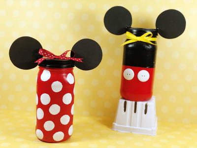 Mickey and Minnie Inspired Saving for Souvenirs Mason Jars