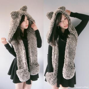 Hooded Timber Wolf Scarf