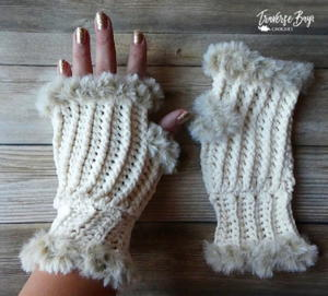 Elegant Faux Fur Fingerless Mittens
