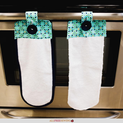 Hanging Kitchen Towels With Button Pattern