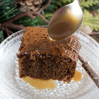 Warm Gingerbread Cake With Calvados Caramel Sauce.