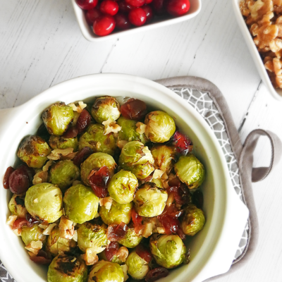 Roasted Sprouts With Cranberries & Walnuts