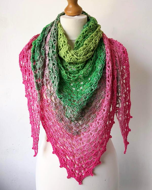 Crochet Triangle Shawl With Shells
