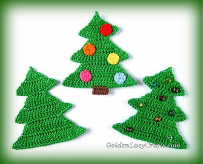 Crochet Christmas Tree Applique Or Ornament