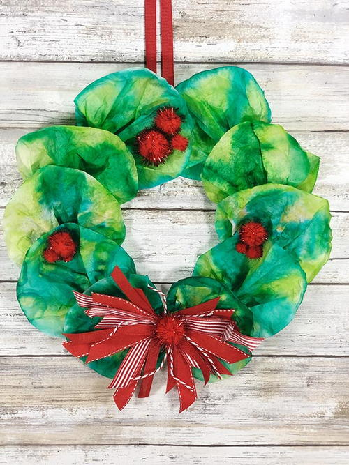 Coffee Filter Wreath Christmas Craft For Kids