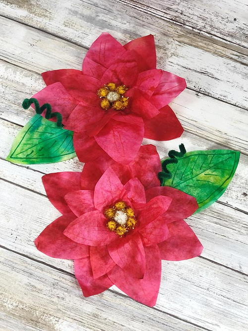 Coffee Filter Poinsettia Craft