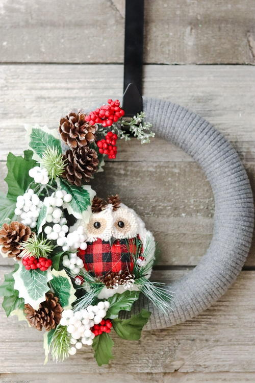 Woodland Owl Christmas Wreath