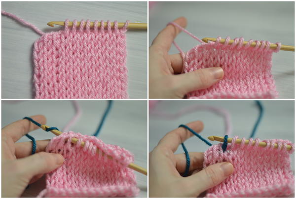 Image shows four panels stacked with the four steps in changing color in the middle of a row in Tunisian crochet.