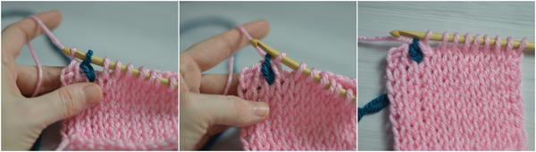 Image shows three panels with the last three steps in changing color during the return pass in Tunisian crochet.