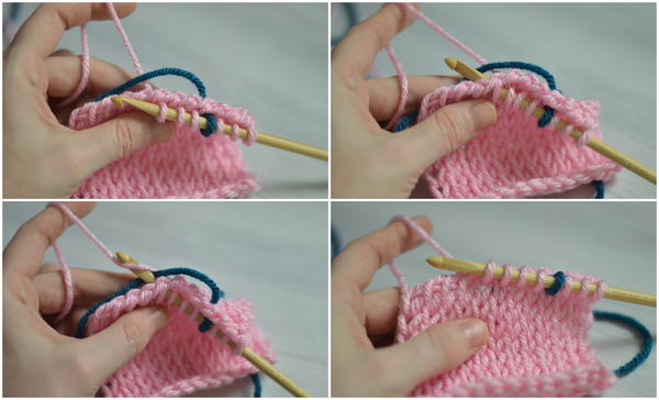 Image shows four panels stacked with the four next steps for carrying colors in Tunisian crochet.