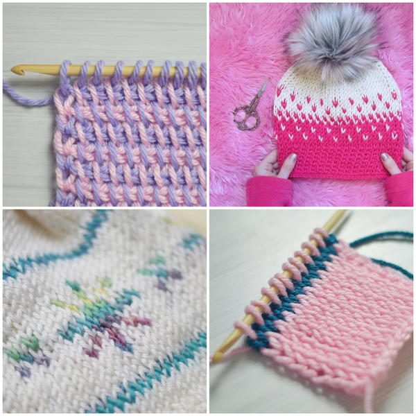 Image shows four examples of colorwork in Tunisian crochet.