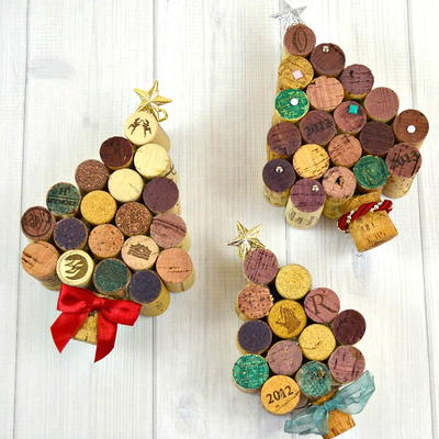 Festive Wine Cork Christmas Trees
