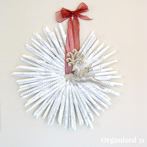 Chic Christmas Book Page Wreath