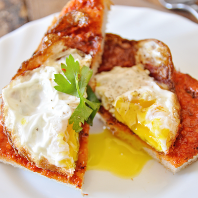 Crispy Spanish Fried Eggs With Romesco Sauce