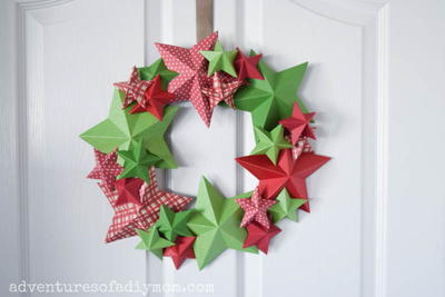 3d Paper Star Wreath