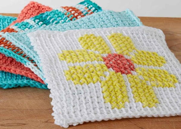 Image shows the Tunisian Crochet Flower Dishcloth.