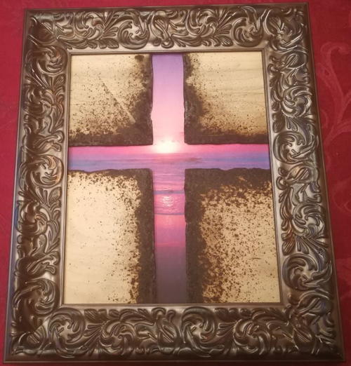 Purple Sunrise Decorative Cross