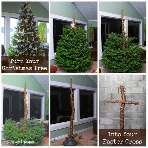 How to Turn Your Christmas Tree into an Easter Cross