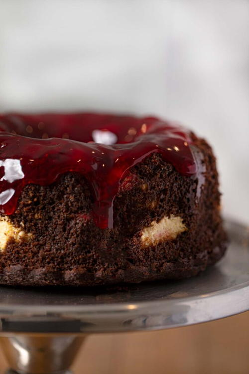 Cherry Chocolate Cream Cheese Bundt Cake