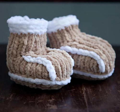 Knit Faux Shearling Baby Booties