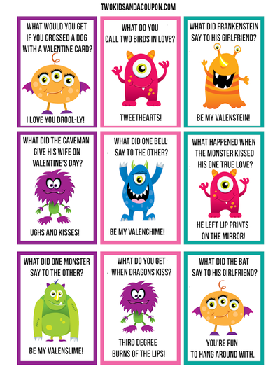Free Valentine's Day Monster Lunchbox Jokes