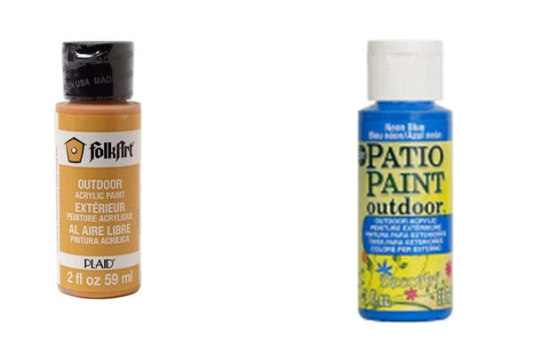 Two manufacturers produce outdoor paints: Folk Art and Patio Paint