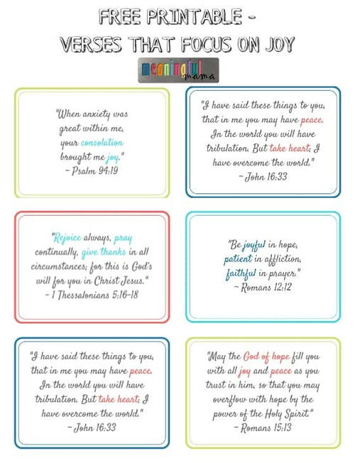 Printable Bible Verses About Joy