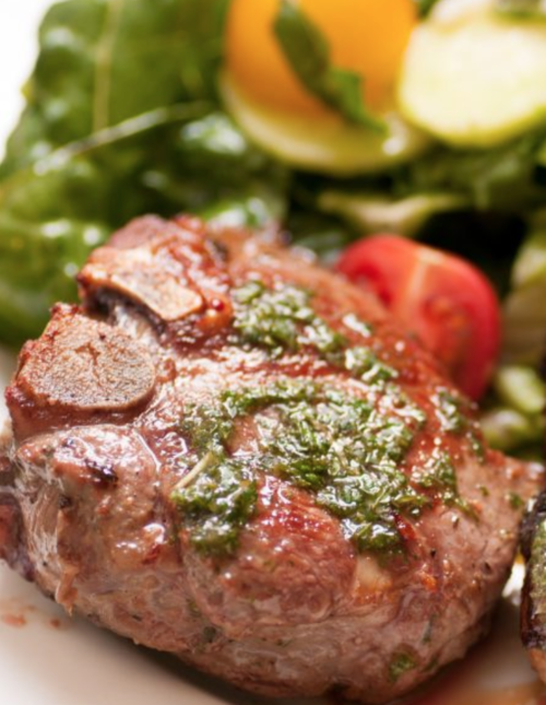 Lamb And Salad With Apple Vinaigrette Dressing