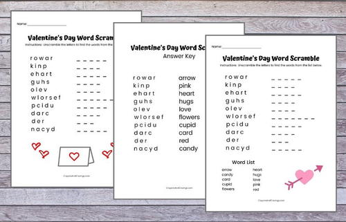 Valentine's Day Word Scramble Printable