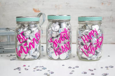 Cricut Diy Pink And Silver Valentines Treat Jar (with Hand-lettered Svg)