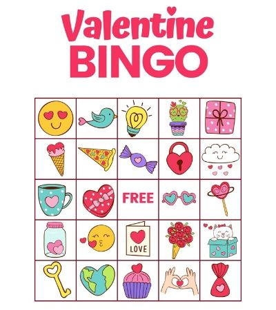 It is an image of Valentine Bingo Free Printable for number