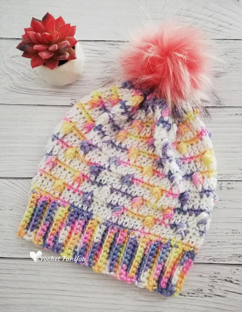 Unicorn Bobble Drops Crochet Child Hat