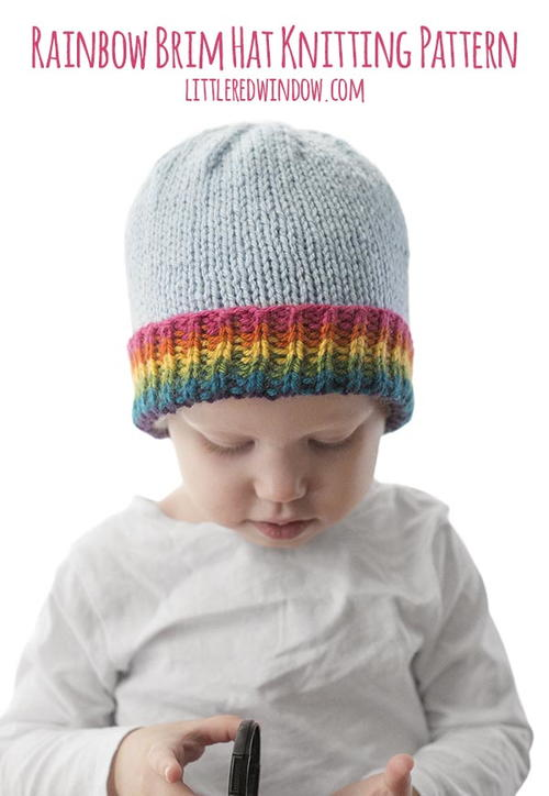 Rainbow Brim Hat Knitting Pattern