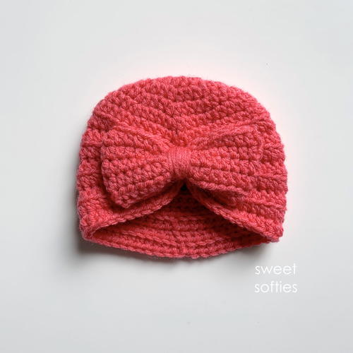 Ribbed Baby Turban Headwrap Hat With Bow