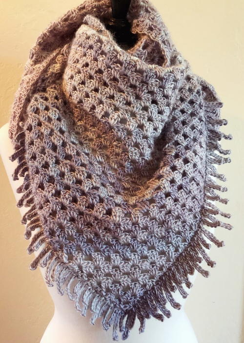 Crochet Spiked Triangle Shawl