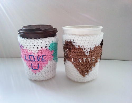 Sweet Heart Coffee Cozy Crochet Pattern