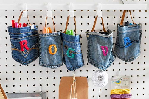 Upcycled Jean Pocket Hanging Storage