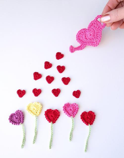 Crochet Heart Flowers Garden Applique