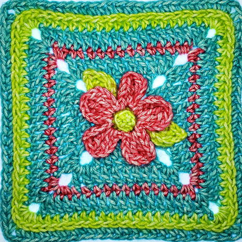 Five Petal Flower Afghan Square