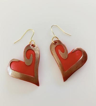 Red And Gold Clay Valentine Earrings
