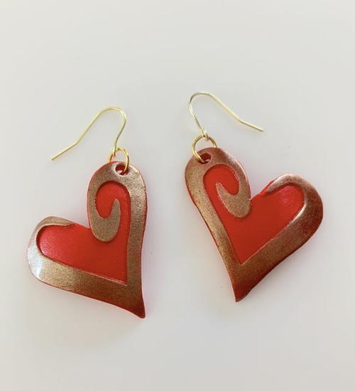 Red And Gold Valentine Earrings