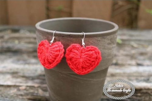 Small Crochet Heart Earrings