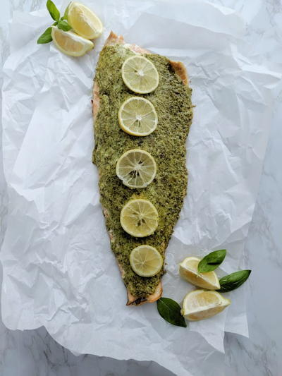 Herb, Asiago, And Roasted Garlic Crusted Salmon