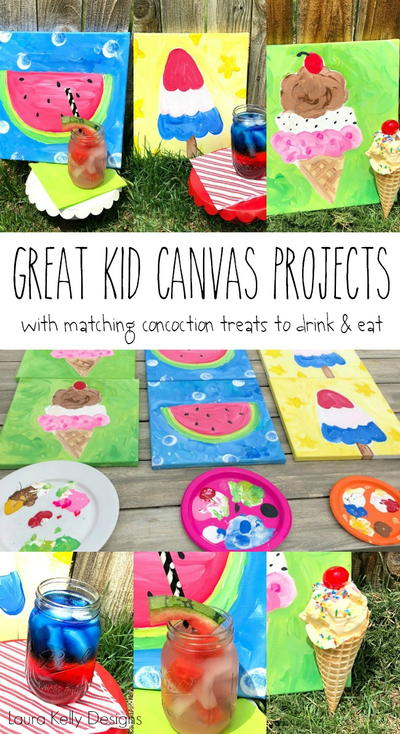 Summertime Kid Canvas Painting