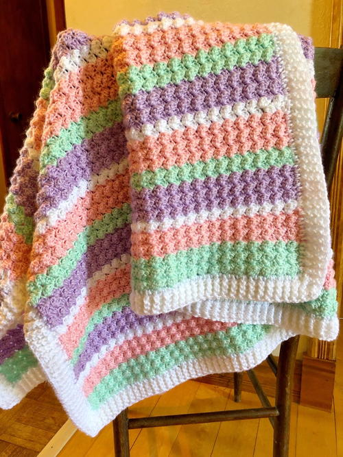 Crochet Textured Baby Blanket In Pastel