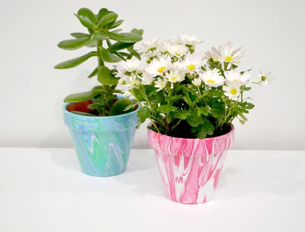 Paint Poured Marble Flowerpots