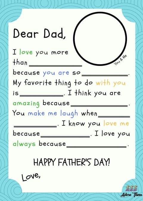 Printable Fathers Day Madlib Letter